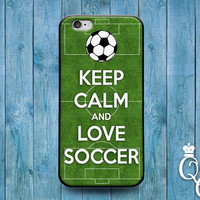 iPhone 4 4s 5 5s 5c 6 6s plus iPod Touch 4th 5th 6th Gen Cool Phone Cover Soccer Field Ball Futbol Green White Sport Cute Keep Calm Fun Case