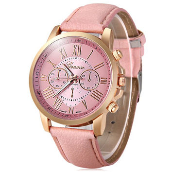 Geneva Decorative Sub-dials Bright Colors Female Quartz Watch