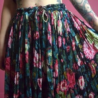 vintage 90s floral maxi skirt ultra draped boho hippie gauzy cotton pastel grunge large XL