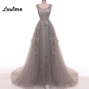 Amazing Grey Prom Dresses Actual Image Crystal Pearls Evening Dress Robe de Soiree vestido longo Hot Sexy Open Back Gown