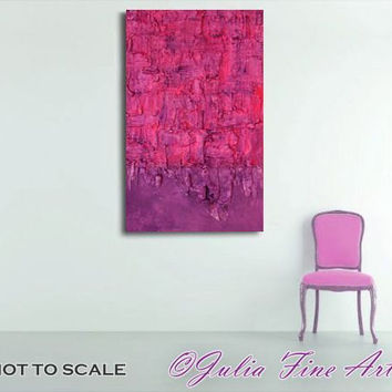 PURPLE Abstract PRINT Canvas-Purple Wall-50cm(20 inch)x 90cm(35 inch)-Modern Wall Decor,Colorful Abstract Print,Mixed Media,Pink,RichTexture