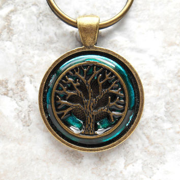 tree of life keychain: teal - mens keychain - irish keychain - mens keyring - tree keychain - boyfriend gift - fathers day - spiritual