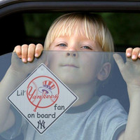 MLB New York Yankees Team Logo Lil Fan on Board Car Sign