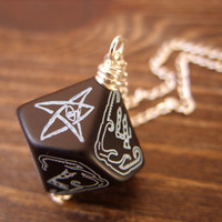 call of Cthulhu necklace D10 dice necklace dungeons and dragons dice jewelry elder sign rpg geek geekery pendant lovecraft