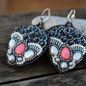Seed Bead Pink Grey earrings Dangle Bead Embroidered earrings Beadwork Earrings Beads Embroidery Jewelry Gift Silvery Beaded earrings OOAK
