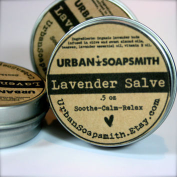 Lavender Salve, Relax & Calming Salve, Lavender Essential Oil - Lavender Salve Lotion Ointment - Beeswax - Organic - Lip Balm - Body Rub