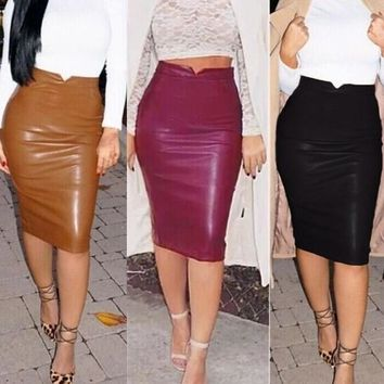Fashion Women Soft PU Leather Skirt High Waist Slim Hip Pencil Skirts Vintage Bodycon Midi Skirt Sexy Clubwear Hot