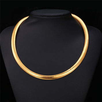 Women Snack Choker Necklace Men Chain Flat snake Jewelry gold Plated 316L Stainless Steel New Trendy Fashion N212
