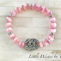Chanel Inspired Rhinestone Stackable Stretch Bracelet Pink and Silver