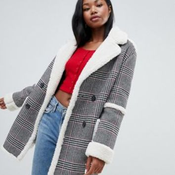 Bershka check teddy long line coat | ASOS