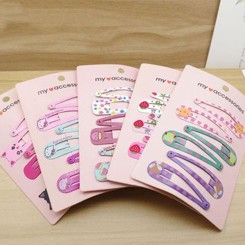 6 pieces 2017 korea Cute Kawaii Iron printing hair clip hair accessories headdress for girl kids young women Flower bow Hairpin