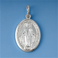 Sterling Silver Virgin Mary Medal Medallion Coin oval pendant