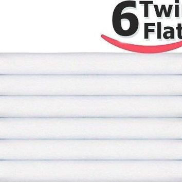 "6 Twin Flat Sheet (66""x108"") White T-200 Percale Hotel Linen (Available in Bulk/Dozens) (Twin)"