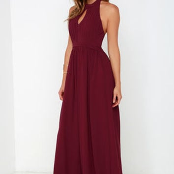 Ooh Gala-La Burgundy Maxi Dress