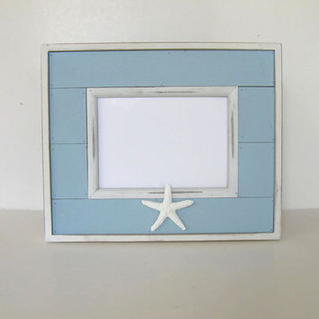 "Light Blue Starfish Photo Frame, Home and Living, Beach Cottage Decor, 11"" x 14"", Wedding"