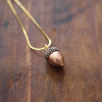 Vintage Copper Acorn Charm Necklace