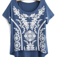 Sweet Vintage Lace Print Modal Short T-shirts For Her