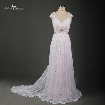 TW0171 Blush Pink  Simple  Removable Train  Beach Wedding Dresses  Vestido De Noiva