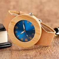 Creative Women Wooden Watch Blue/Green Face Bamboo Minimalist Roman Number Quartz Genuine Leather Band Dress relogio feminino