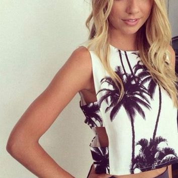 VLXZGW7 Fashion Side Hollow Coconut Trees Print Sleeveless Vest Crop Tops
