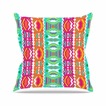 "Miranda Mol ""Ethnic Summer"" Green Orange Throw Pillow"