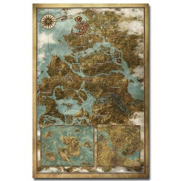 Map Of The Witcher 3 Wild Hunt Hot Game Art Silk Fabric Poster Print 12x18 24x36inch Wall Pictures For Room Decor TW035