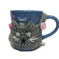 Cat Coffee Holder, Gift for Pet Owner, Tea Cup Warmer, Low Cost Present Gift under 15, Cat Ears Cup Wrap, Coffee Yarn Sleeve