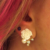 00g, 0g, 2g, 4g Ivory and Gold Rose Plugs, Wedding Plugs, Bridal Jewelry, Bridesmaids, Formal Wear, Special Occasion