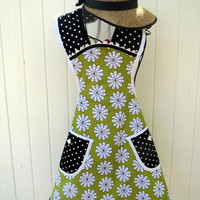 Retro Style Full Apron in Apple Green Vintage Style Womans Apron