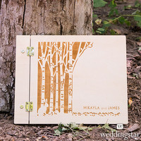 Woodland Pretty Personalized Wooden Guest Book - Weddingstar