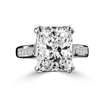 3 CT. (11x9mm) Intensely Radiant Emerald Shape Diamond Veneer Cubic Zirconia Sterling Silver Wedding/Engagement Ring. 635R3236