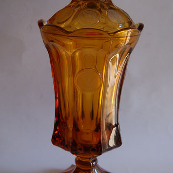 Vintage 1970s Fostoria COIN GLASS Amber Color Tall Candy Dish With Lid Or Urn
