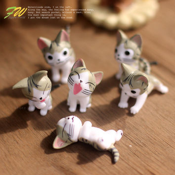 (6pcs/lot) Cheese cat miniature figurines toys cute lovely Model Kids Toys 4cm PVC japanese anime children figure world 151208