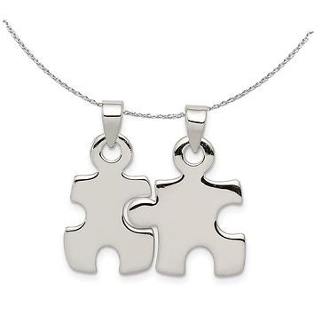 Sterling Silver, Set of 2, Polished Puzzle Piece Pendants Necklace