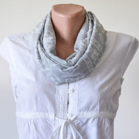 Gray Neutral Patterned Infinity Scarf, Cotton, Loop Scarf,  Gift Ideas for Her