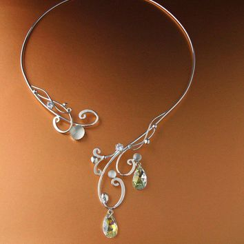Moonlight Torc Necklace Sterling Celtic Magic Fairy Elven Renaissance Medieval Wedding Bridal