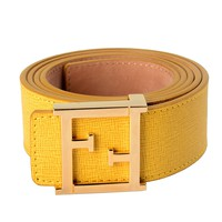 Fendi 100% Leather Yellow Women's Gold Buckle Belt