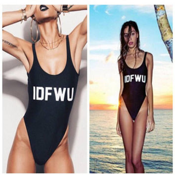 IDFWU Letters Printed One Piece Swimsuit