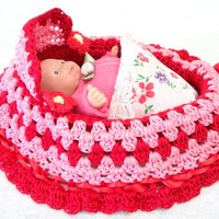 cradle baby doll purse girls crochet purse red pink BG#99