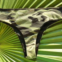 Swimwear Thong Bikini Bottom TARIFA in Camo and Black, by MAKANI DREAM