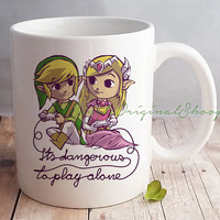 Mug White Ceramic Design of Zelda Game, Perfect Gift
