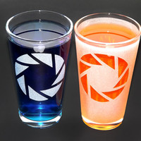 Sandblasted Portal Aperture Science Pint Glass Set