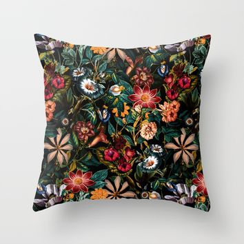 NIGHT-GARDEN-XXIV Throw Pillow by Burcu Korkmazyurek