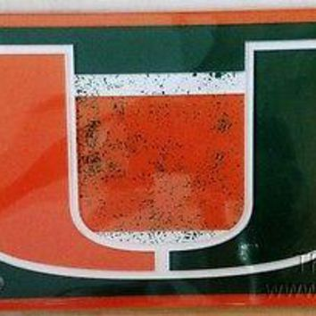 Miami Hurricanes VINTAGE Style Deluxe Laser License Plate Tag University of