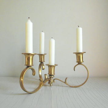 Ornate Brass Candelabra | Vintage Brass Candle Holder | Multi Candle Centerpiece Candlestick Holder | Brass Holiday Decor