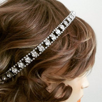 Bridal Rhinestone Headband, Wedding Hair Accessories, Bridal Headpiece, Art Deco Bridal Hair Accessories, Bridal Crystal Headband