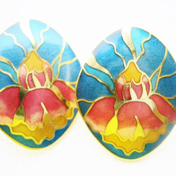 Vintage Cloisonné Flower Pierced Stud  Earrings - Lotus Blossom Earrings - 1980s Retro Fashion Jewelry - Royal Blue - Pink - Metallic Gold