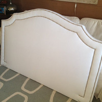Queen Upholstered Notched Headboard, WHITE Linen, Silver Nickel Nailhead