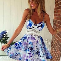 Purple Floral V-neck Spaghetti Straps Mini Princess Dress