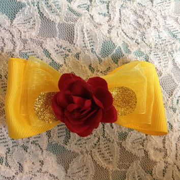 Disneys beauty and the beast inspired Belle bow